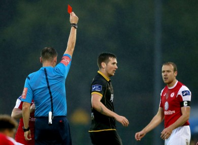 Sligo's Craig Roddan is sent off after a tackle on Daryl Horgan of Dundalk.