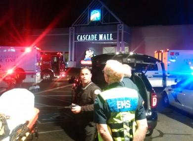 The scene outside the Cascade Mall.