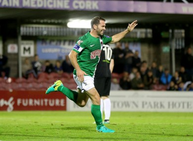 Cork City's Dave Mulcahy celebrates after scoring his second goal.