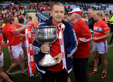 Cork boss Ephie Fitzgerald with the Brendan Martin Cup.