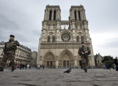 French soldiers patrol near Notre Dame cathedral in Paris last November.