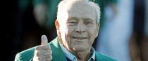 Palmer: four-time Masters winner gives the thumbs up before the 2016 tournament at Augusta National.