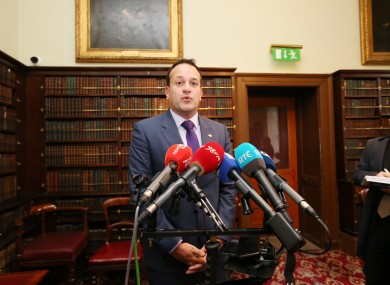 Minister Varadkar talking to press in Royal Irish Academy today.