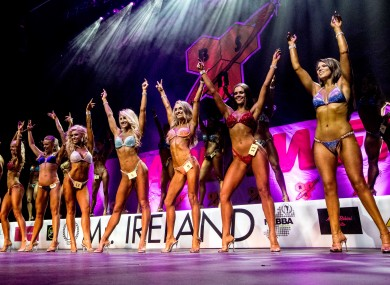 Competitors take part in the NABBA Miss Bikini event earlier this year.