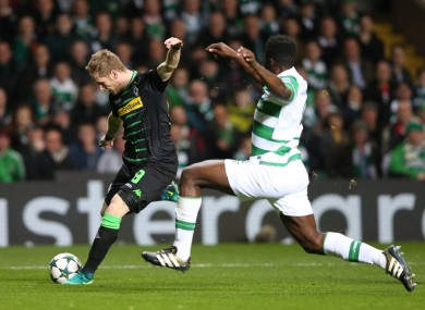 Moenchengladbach goalscorer Andre Hahn and Celtic defender Kolo Toure.