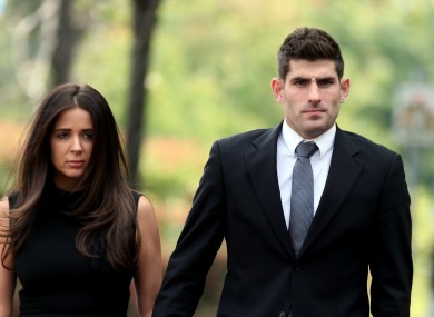 Footballer Ched Evans arrives at Cardiff Crown Court with partner Natasha Massey.