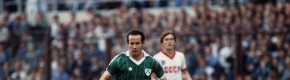 Liam Brady pictured playing against the Soviet Union in 1984.
