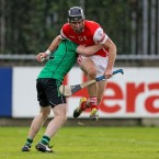 Mark Schutte and Phillip Smith do battle in the Dublin SHC semi-final.<span class=
