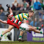 Noel Gavin is fouled by Brian Shanahan to win a penalty for Ballincollig.<span class=