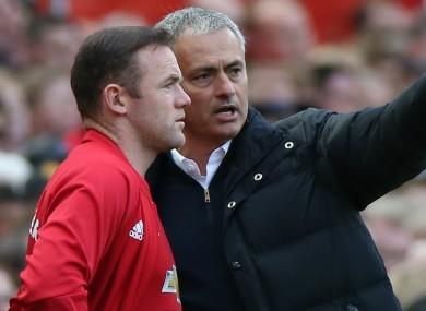 Wayne Rooney and Manchester United manager Jose Mourinho.