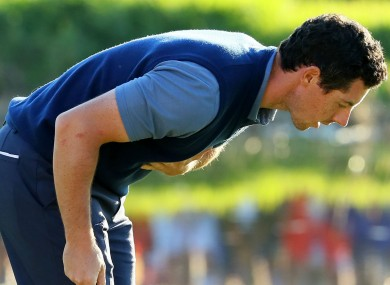 Rory McIlroy bows to the crowd at Hazeltine