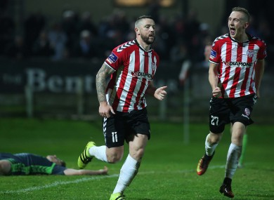 Derry's Rory Patterson celebrates scoring.