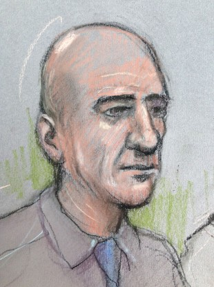 Court artist sketch of Stephen Port appearing at The Old Bailey.