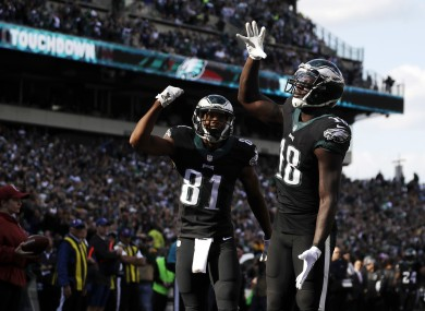 Dorial Green-Beckham celebrates as the Eagles hand the Vikings their first defeat of the season.
