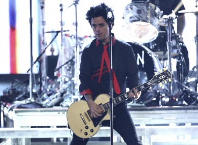 Green Day lead singer Billie Joe Armstrong performing at the American Music Awards
