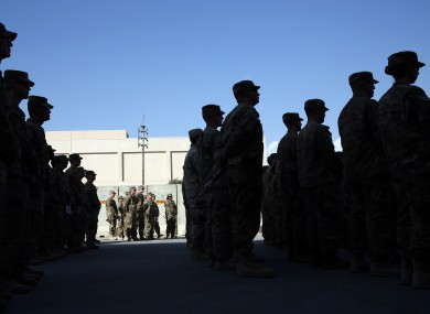 File photo of  US service members standing during a ceremony at Bagram Airfield.