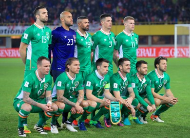 The Ireland team line out ahead of tonight's match.
