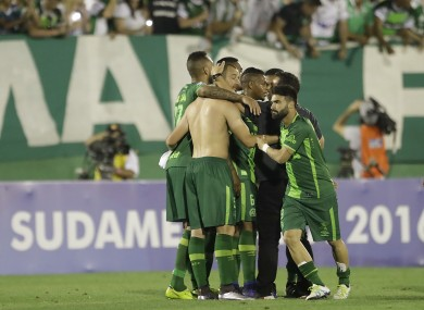 Chapecoense players celebrate their Sudamericana semi-final victory over Argentina's San Lorenzo last week.