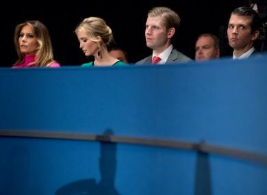 Melania Trump, Ivanka Trump, Eric Trump, and Donald Trump junior.