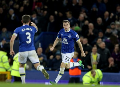 Coleman celebrates his late goal.