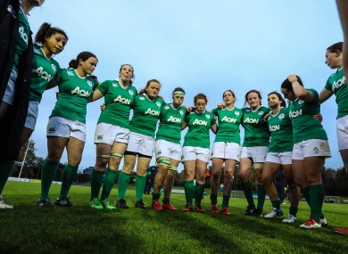 The Ireland players after their defeat to England.