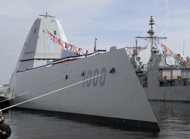 The USS Zumwalt docked in Baltimore before its commissioning ceremony.
