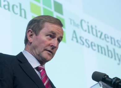 Taoiseach Enda Kenny addressing the inaugural meeting of the Citizens' Assembly in Dublin in October.