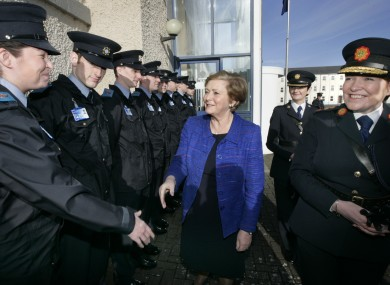 Garda recruit Sarah Jennings from Cork meeting Fine Gael Minister for Justice and Equality, Frances Fitzgerald and the Garda Commissioner, Noirin O'Sullivan in 2015.
