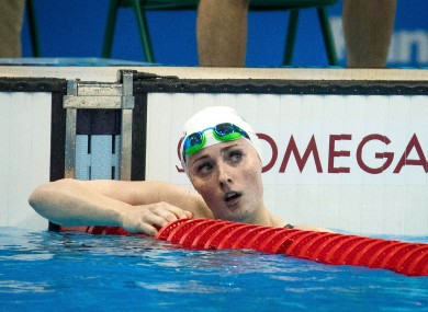 Ireland's Fiona Doyle after competing in the Women's 200m Breaststroke Heats at the 2016 Rio Olympics.