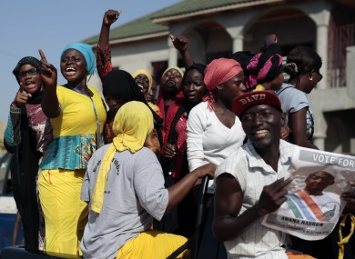 Gambians celebrate the victory of opposition coalition candidate Adama Barrow.