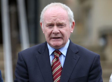 First Minister Martin McGuinness.