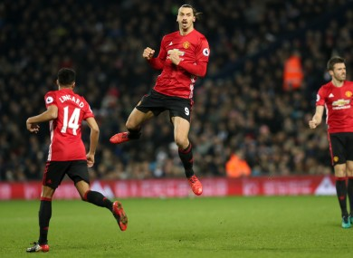 Manchester United's Zlatan Ibrahimovic celebrates scoring his side's second goal of the game.