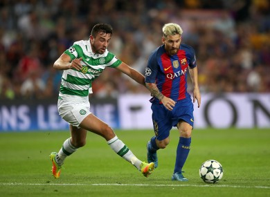Eoghan O'Connell tracking Lionel Messi during Celtic's Champions League encounter with Barcelona at the Camp Nou in September.