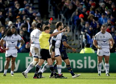 Referee JP Doyle shows Frans Steyn of Montpellier a red card at the RDS earlier this month.