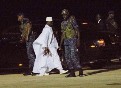 Gambia's defeated leader Yahya Jammeh departs at Banjul airport Saturday.