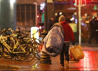 A homeless person in Dublin city centre earlier this week