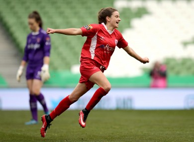 Shelbourne Ladies' Leanne Kiernan celebrates scoring the second goal of the game in the WFAI Cup final.