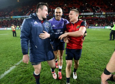 Niall Scannell, Simon Zebo and Andrew Conway celebrate on Saturday.