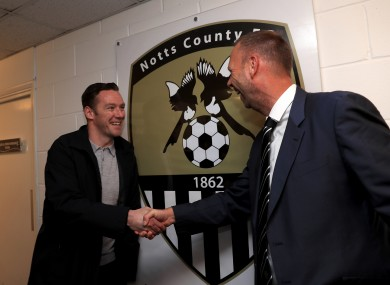 Nolan and Notts County owner and chairman Alan Hardy.