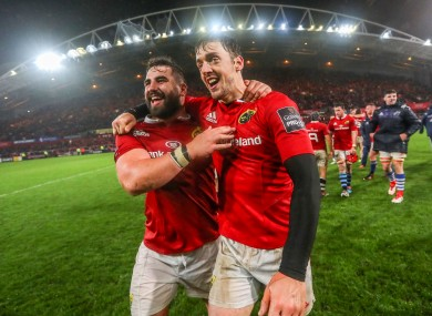 Peter McCabe (left) celebrates with Darren Sweetnam after Munster's win against the Maori All Blacks in November.