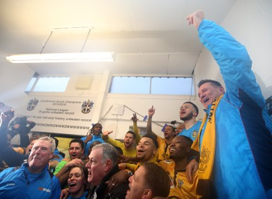 Sutton celebrate their win over Leeds.