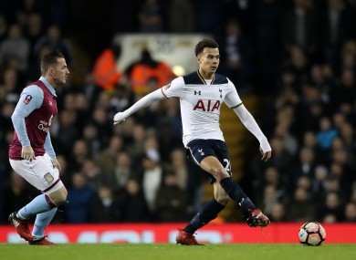 Tottenham Hotspur's Dele Alli (right) and Aston Villa's Ross McCromack battle for the ball during the Emirates FA Cup, Third Round match at White Hart Lane.