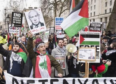 Anti-Israeli demonstrators outside Downing Street, London.