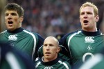 Donncha O'Callaghan, Peter Stringer and Paul O'Connell with tears in his eyes during the national anthem.