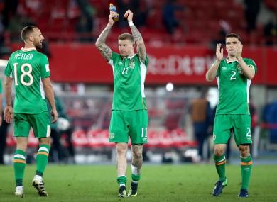 Ireland's David Meyler, James McClean and Seamus Coleman after their win over Austria last November.