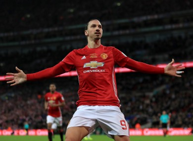Manchester United's Zlatan Ibrahimovic celebrates scoring his side's third goal of the game during the EFL Cup final.