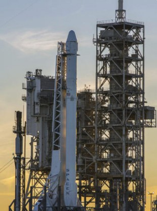 The SpaceX Falcon 9 rocket on the launch pad.