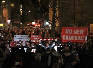Arsenal fans protesting outside the Emirates Stadium before their Champions League exit this week.