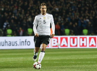 Mats Hummels pictured during Sunday's 4-1 win away to Azerbaijan.