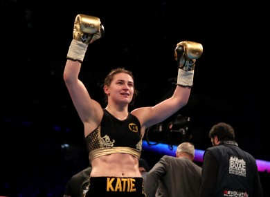 Katie Taylor celebrates her victory over Monica Gentili.